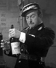 Captain Renault looks at Vichy water in disgust in Casablanca